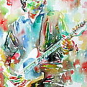 Bruce Springsteen Playing The Guitar Watercolor Portrait.3 Art Print by Fabrizio Cassetta
