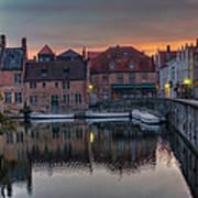Bruges Canal Dawn Art Print