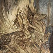 Brunnhilde On Grane Leaps Art Print