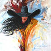 Brushstroke Cowgirl Art Print by Lance Headlee