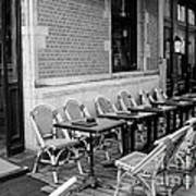 Brussels Cafe In Black And White Art Print