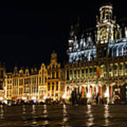 Brussels - The Magnificent Grand Place At Night Art Print