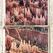 Bryce Canyon Utah View Through A White Rustic Window Frame Art Print