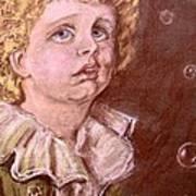 Bubbles Pastel Portrait Art Print