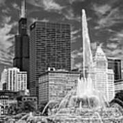 Buckingham Fountain Sears Tower Black And White Art Print