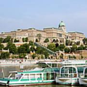Buda Castle And Boats On Danube River Art Print