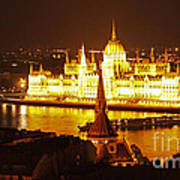 Budapest At Night Art Print by Gregory Dyer