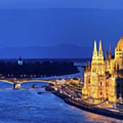 Budapest By Night Art Print