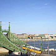 Budapest Cityscape And Liberty Bridge Art Print