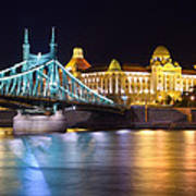 Budapest Night Bridge Art Print