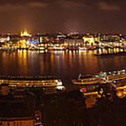 Budapest Night Panorama  Art Print