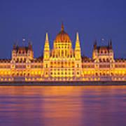Budapest Parliament At Night Art Print