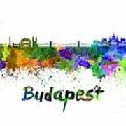 Budapest Skyline In Watercolor Art Print