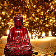 Buddha And Candles Art Print by Olivier Le Queinec