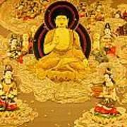 Buddha And Fairies Art Print