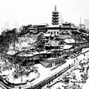 Buddha - Jiming Temple In The Snow - Black-and-white Version  Art Print by Dean Harte