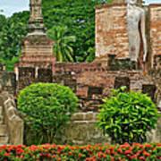 Buddhas In Wat Mahathat In 13th Century Sukhothai Historical Park-thailand Art Print