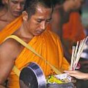 Buddhist Monks Receiving Alms Art Print