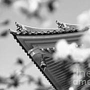 Buddhist Temple In Black And White - Roof Tile Details Art Print