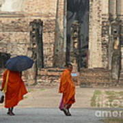 Buddist Monks Visiting Sukhothia Art Print