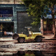 Buenos Aires Jeep Under The Rain Art Print