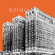 Buffalo New York Skyline 2 - Coral Art Print