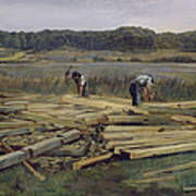 Building Site At Wesslingersee, 1876 Oil On Canvas Art Print