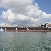 Bulk Cargo Ship With Tug Escort Art Print