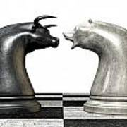 Bull And Bear Market Trend Chess Pieces Art Print