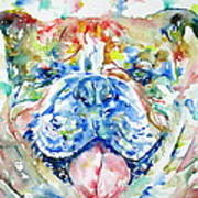 Bulldog - Watercolor Portrait Art Print