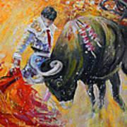 Bullfighting In Neon Light 02 Art Print