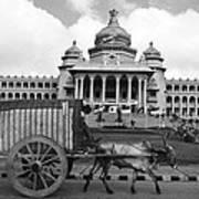 Bullock Cart And Building Art Print