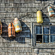 Buoys On A Wall At Peggys Cove Art Print