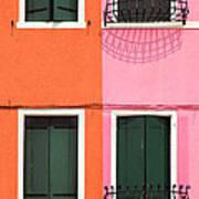 Burano Pink And Orange Art Print