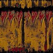 Burgandy Hearts On Gold Art Print