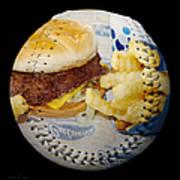 Burger And Fries Baseball Square Art Print