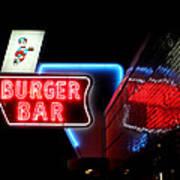 Burger Bar Neon Diner Sign At Night Art Print