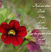 Burgundy Calibrochoa Greeting Card With Verse Art Print