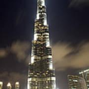 Burj Khalifa Tower In Dubai At Night Art Print by Nicolae Feraru