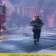 Burlingame Firemen On The Scene Of A House Fire Art Print
