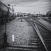 Burlington Vermont Train Yard Vintage Grunge Black And White Art Print