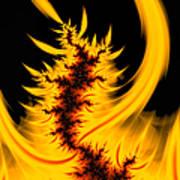 Burning Fractal Fire Warm Orange Flames Black Background Art Print
