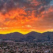 Burning Sicilian Sunset Art Print by Viacheslav Savitskiy