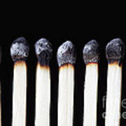 Burnt Matches On Black Art Print