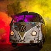 Bus In A Cloud Of Multi-color Smoke Art Print
