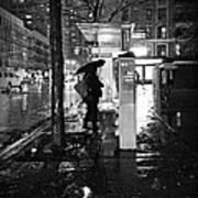 Bus Stop In The Rain Art Print