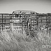 Bus Stop On Route 66 In Oklahoma In Black And White Art Print