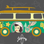 Bus With Surfboard Art Print