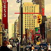 Busy Downtown Toronto Morning Cross Walk Traffic City Scape Paintings Canadian Art Carole Spandau Art Print