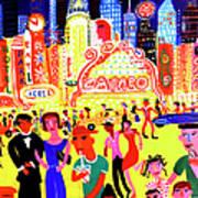 Busy Nightlife In New York City, United Art Print